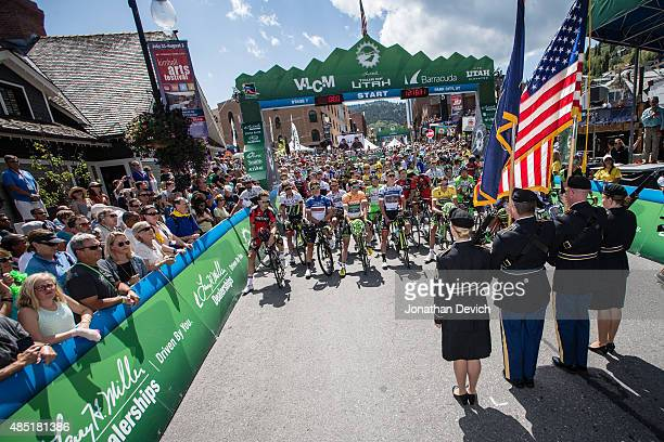 Riders and fans wait for the start of stage 7 of the Tour of Utah on August 9 2015 in Park City Utah