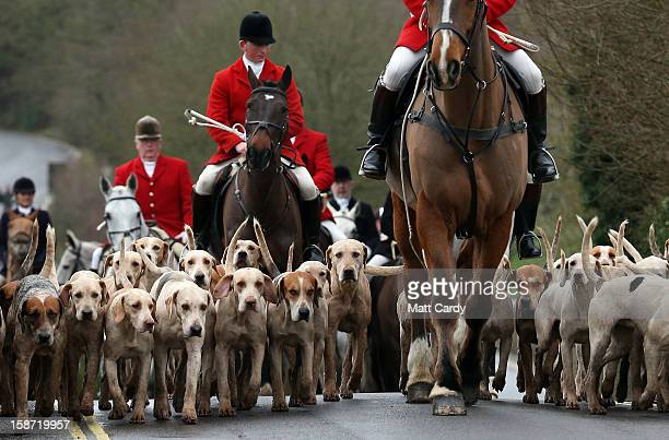 Riders and hounds from the Avon Vale Hunt arrive for their traditional Boxing Day hunt on December 26 2012 in Lacock England As hundreds of hunts met...