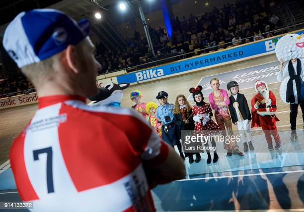 Riders and kids dressed for Fastelavn during day four of the Bilka Six Day Copenhagen bike race at Ballerup Super Arena on February 4 2018 in...