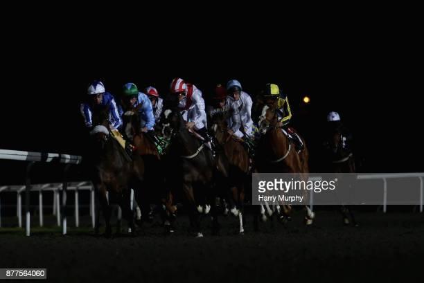 Riders and runners during the 32Red casino/EBFstallionscom novice stakes at Kempton Park on November 22 2017 in Sunbury England