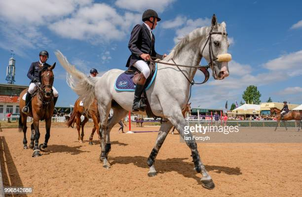 Riders and their horses use the warm up ring ahead of competing during the 160th Great Yorkshire Show on July 10 2018 in Harrogate England First held...