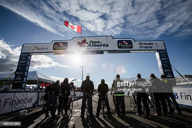 Riders are held on the start line for the start of the team time trial during stage 1 of the Tour of Alberta on September 2 2015 in Grande Prairie...