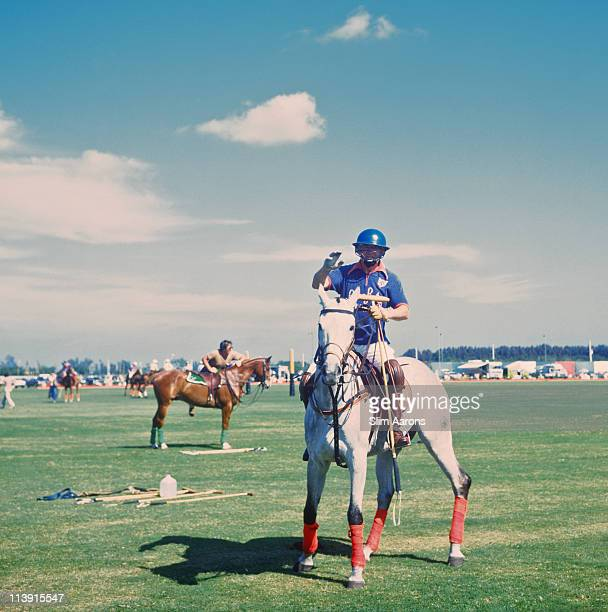 Riders at a polo match at the Royal Palm Polo Club in Boca Raton Florida April 1978
