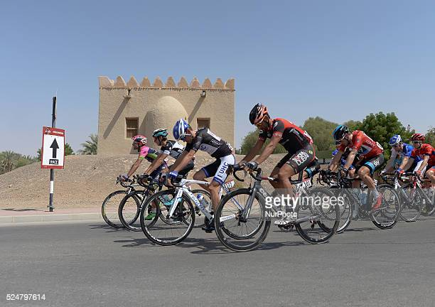 Riders at the start of the Stage 3 the Al Ain Stage of the first Abu Dhabi Tour 142 km from Al Ain to Jebel Hafeet Jebel Hafeet Abu Dhabi UAE 10...