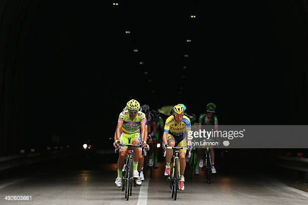 Riders attempt an early breakaway at the start of the eleventh stage of the 2014 Giro d'Italia a 249km medium mountain stage between Collecchio and...