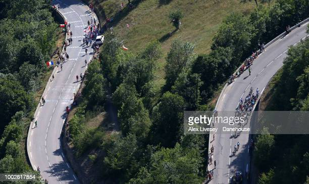 Riders climb up Alpe d'Huez during Stage 12 a 1755km stage from BourgSaintMaurice Les Arcs to Alpe d'Huez of the 105th Tour de France 2018 on July 19...