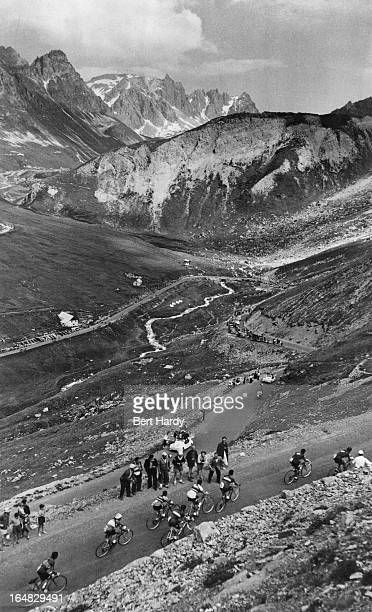 Riders climbing the Col du Galibier during the ninth stage of the Tour de France between Briancon and Monaco 15th July 1955 This is the first tour in...