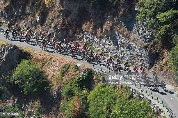 Riders climbs The Lacets de Montvernier during the 2015 Tour of France, Stage 18, Gap - Saint-Jean-De-Maurienne, on July 23, 2015. The 102nd edition...