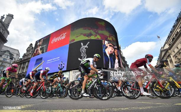 TOPSHOT Riders come around Piccadilly Circus start of the 77km final stage of the Tour of Britain cycle race in central London on September 9 2018