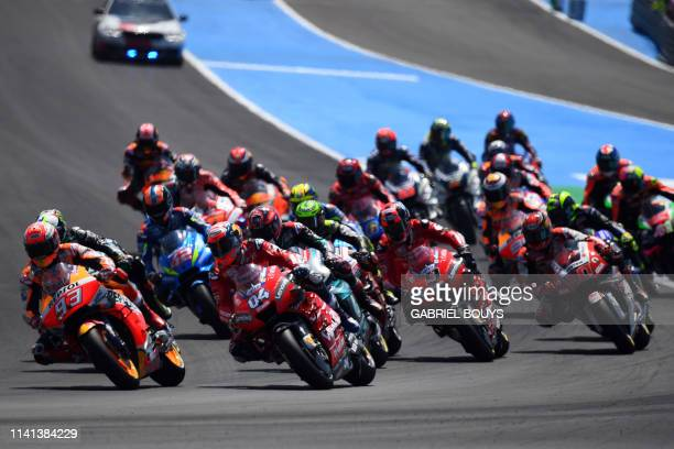 Riders compete after the start of the MotoGP race of the Spanish Grand Prix at the Jerez - Angel Nieto circuit in Jerez de la Frontera on May 5, 2019.