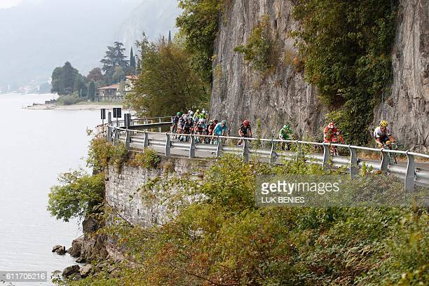 Riders compete along the lake of Lecco during the 110th edition of the giro di Lombardia a 241 km cycling race from Como to Bergamo on October 1 2016...
