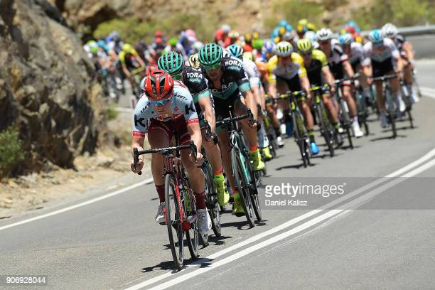 Riders compete down Gorge road during stage four of the 2018 Tour Down Under on January 19 2018 in Adelaide Australia