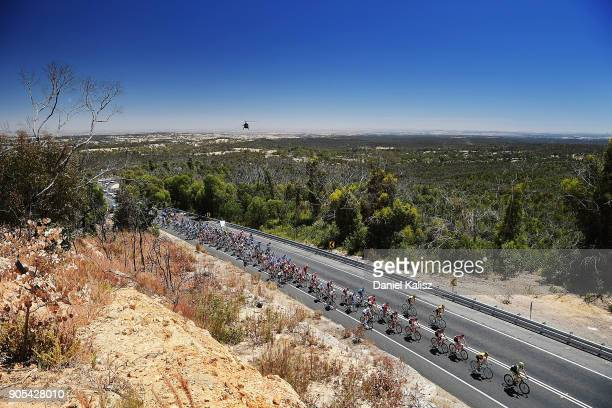 Riders compete during stage one of the 2018 Tour Down Under on January 16, 2018 in Adelaide, Australia.