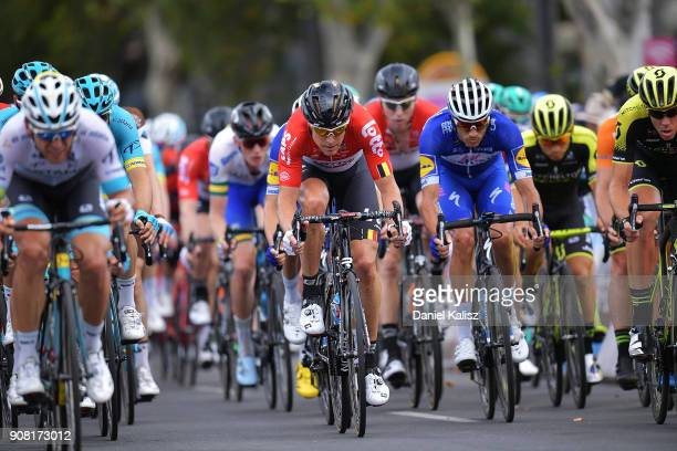 Riders compete during stage six of the 2018 Tour Down Under on January 21 2018 in Adelaide Australia