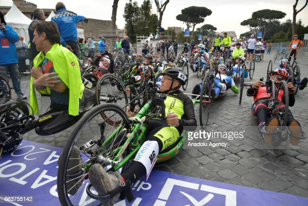 Riders compete during the 23rd Marathon of Rome, in Rome, Italy on April 02, 2017. The Rome Marathon is an annual marathon competition hosted by the...