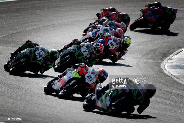 Riders compete during the FIM Superbike World Championship - WorldSBK Estoril Round - Superpole Race, at the Circuito Estoril in Cascais, Portugal on...