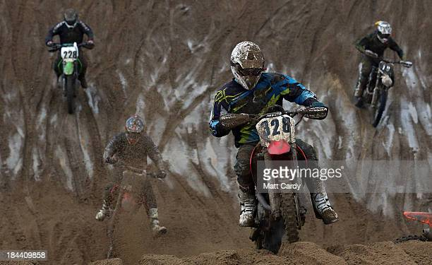 Riders compete during the main solo race of the 2013 RHL Weston annual beach race in WestonSuperMare on October 13 2013 in Somerset United Kingdom...