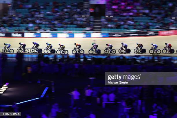 Riders compete during the men's 75km points race during day two of the Phynova Manchester Six Day Cycling at National Cycling Centre on March 23 2019...