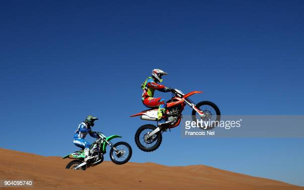 Riders compete during the Sharjah Sports Desert Festival at Al Badayer on January 12 2018 in Sharjah United Arab Emirates