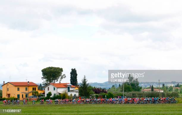 Riders compete during the stage three of the 102nd Giro d'Italia - Tour of Italy - cycle race, 220kms from Vinci to Orbetello on May 13, 2019.