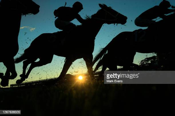 Riders compete in race 9 the Cactus Imaging Sprint during Sydney Racing on Winx Stakes Day at Royal Randwick Racecourse on August 22, 2020 in Sydney,...