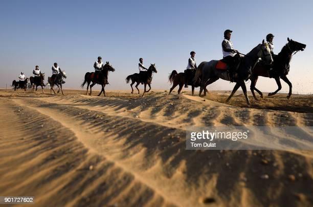 Riders compete in Sheikh Mohammed bin Rashid Al Maktoum Endurance Cup at Dubai International Endurance City on January 6 2018 in Dubai United Arab...