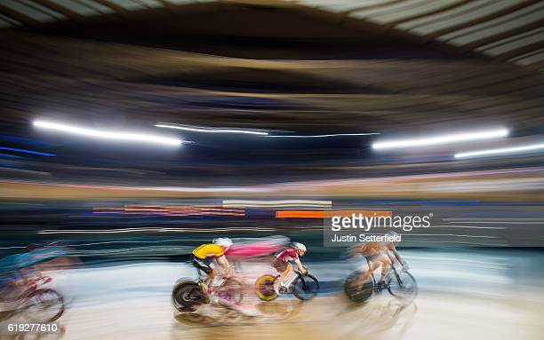 Riders compete in the 10km scratch race during the Six Day London Cycling at the Velodrome on October 30 2016 in London England