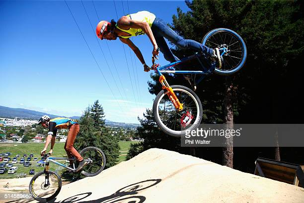 Rider's compete in the Dual Speed and Style final on Day Two of the Crankworx Mountainbike Festival on March 10 2016 in Rotorua New Zealand