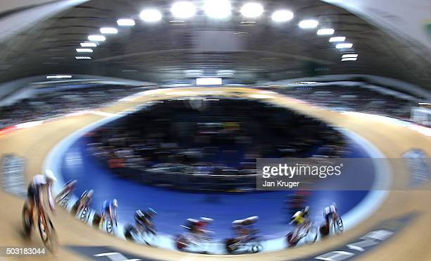 Riders compete in the Elite Championship Team Elimination Race during the Elite Track Cycling Revolution Series at National Cycling Centre on January...