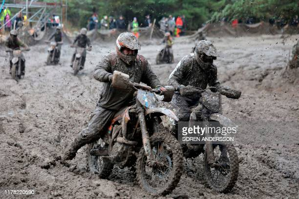 Riders compete in the Gotland Grand National enduro race at Tofta airport near Visby Sweden October 26 2019 / Sweden OUT