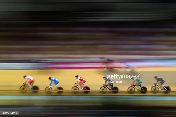Riders compete in the Men's 20km Scratch Race qualifying at the Sir Chris Hoy Velodrome during day four of the Glasgow 2014 Commonwealth Games on...