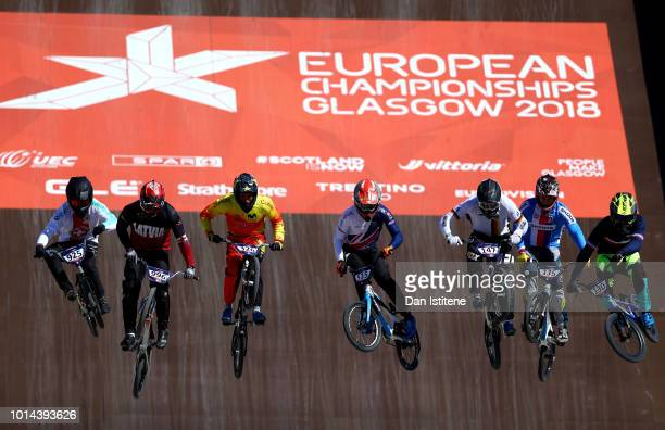Riders compete in the Men's BMX Motos Heat 2 during the BMX on Day Nine of the European Championships Glasgow 2018 at on August 10 2018 in Glasgow...