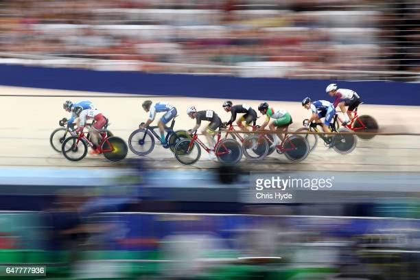 Riders compete in the Mens U19 25km points race final during the Track Cycling National Championships at Anna Meares Velodrome on March 4 2017 in...