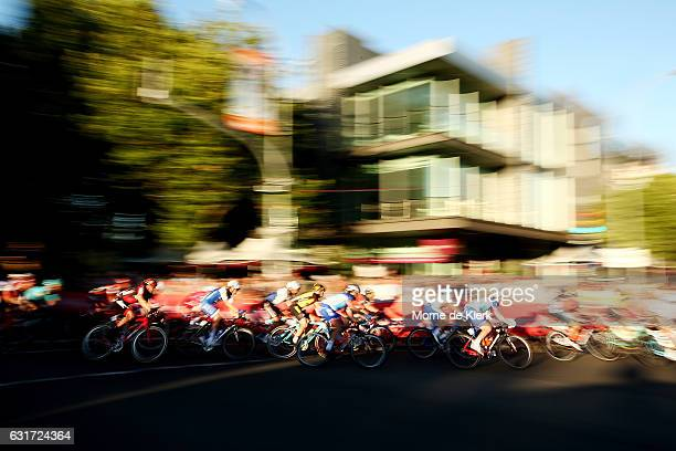 Riders compete in the peleton during the People's Choice Classic street race a preview race to the 2017 Tour Down Under on January 15 2017 in...