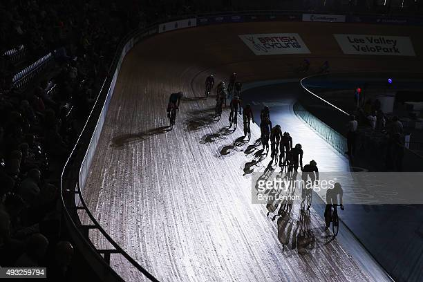 Riders compete in the U23 Talent Cup Madison during day one of the London Six Day Race at the Lee Valley Velopark on October 18 2015 in London England