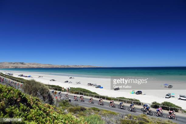 Riders compete near Silver Sands Beach during the 21st Santos Tour Down Under 2019, Stage 6 a 151,5km stage from McLaren Vale to Willunga Hill 374m /...
