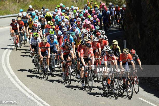 Riders compete up Gorge road during stage four of the 2018 Tour Down Under on January 19 2018 in Adelaide Australia
