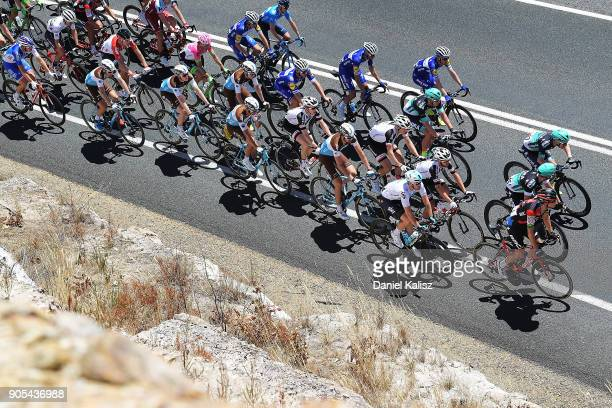 Riders compete up Humbug Scrub during stage one of the 2018 Tour Down Under on January 16 2018 in Adelaide Australia