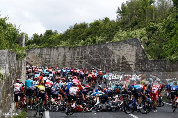Riders crash during stage six of the 102nd Giro d'Italia - Tour of Italy - cycle race, 238kms from Cassino to San Giovanni Rotondo on May 16, 2019.