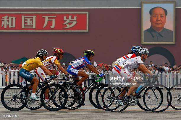 Riders cycle in front of the Tiananmen gate during the women's road cycling event held on the Road Cycling Course during day 2 of the Beijing 2008...