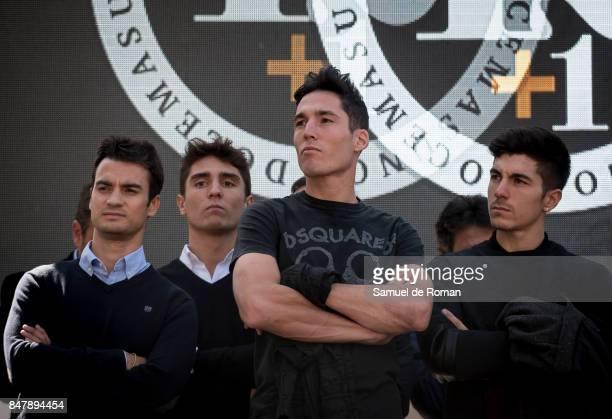 Riders Dani Pedrosa Aleix Espargaro and Maverick Vinales during Funeral Tribute For Angel Nieto in Madrid on September 16 2017 in Madrid Spain