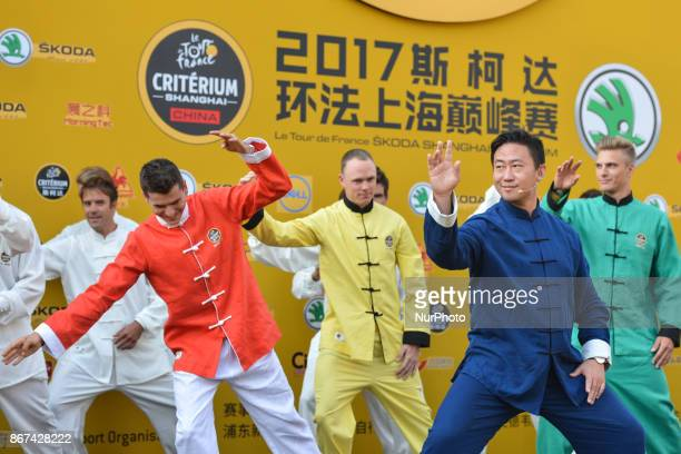 Riders during Tai chi activity at the 1st TDF Shanghai Criterium 2017 Media Day On Saturday 28 October 2017 in Shanghai China