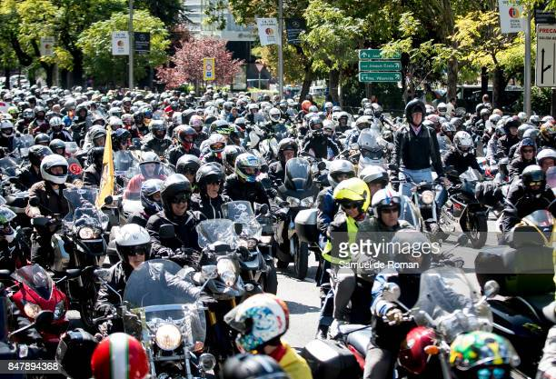 Riders during the Funeral Tribute For Angel Nieto in Madrid on September 16 2017 in Madrid Spain