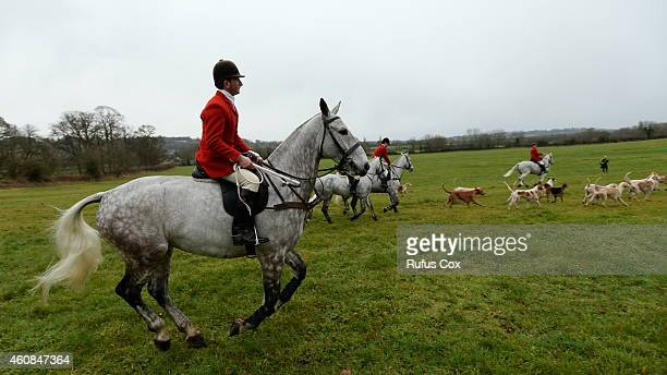 Riders follow a trail during the Avon Vale Boxing Day Hunt on December 26 2014 in Lacock England Boxing Day is traditionally the biggest event in the...