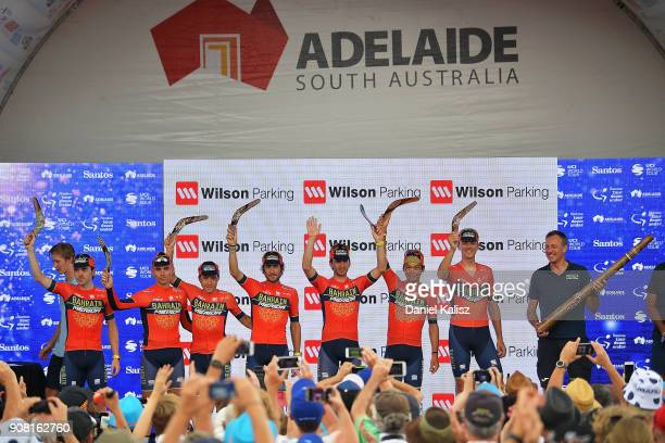 Riders from BahrainMehrida celebrates on the podium after stage six of the 2018 Tour Down Under on January 21 2018 in Adelaide Australia