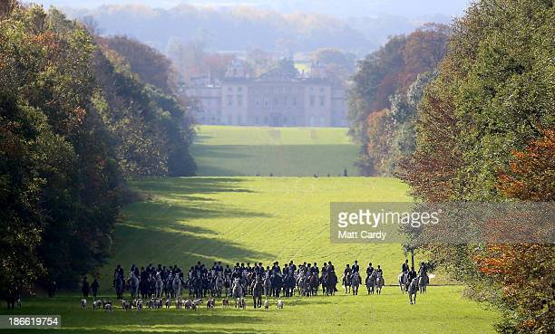 Riders from the Duke of Beaufort's Hunt arrive with the hounds for their opening meet of the season at Worcester Lodge on November 2 2013 near...