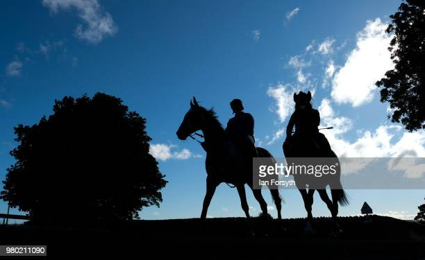 A rider from a nearby stable exercises a racehorse on the gallops in Middleham on the Summer Solstice on June 21 2018 in Middleham England The...