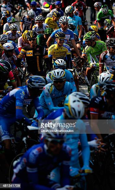 Riders get ready to compete in the E3 Harelbeke Cycle Race on March 28, 2014 in Harelbeke, Belgium.
