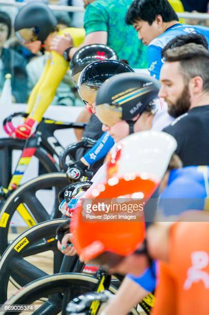 Riders get ready to compete in the Women's Keirin 2nd Round during 2017 UCI World Cycling on April 16 2017 in Hong Kong Hong Kong