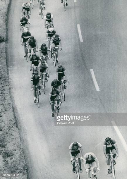 Riders Go All Out To Promote Cycling Contestants remain bunched near the 15mile mark of the 30mile Miller 1973 JUN 25 1973 High Life Classic bicycle...